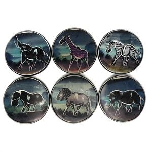 Painted Soapstone African Animal Coaster Set